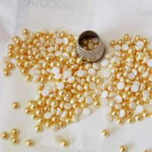 Preciosa Flat Back Gold Pearl Cabochons in 2 sizes